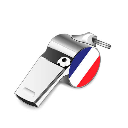 ticker: Referee whistle with a football inside and the National flag of France