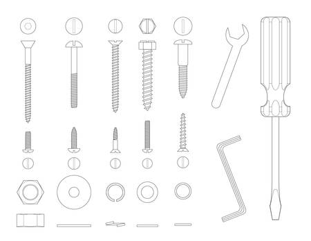 compression  ring: Black and white line illustration of screws and tools