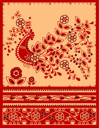 Traditional firebird with floral ornament