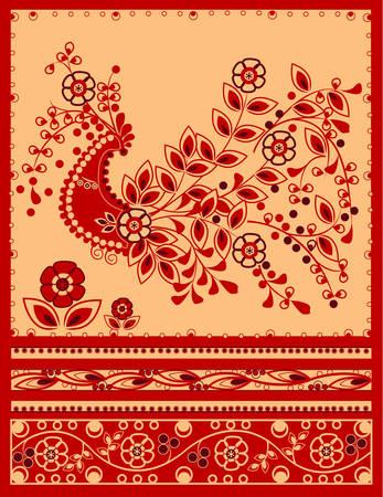 Traditionele firebird met bloemen versiering Stock Illustratie