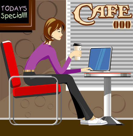 Girl with laptop in coffee shop Vector