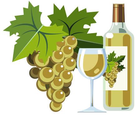 Witte wijn met druiven, fles en glas