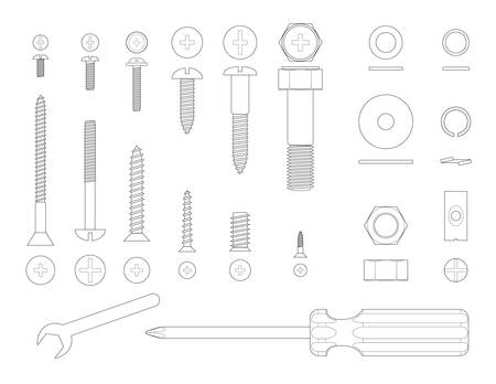 Black and white line illustration of screws and tools