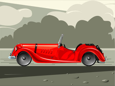 Illustration of old-fashioned red sports car