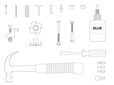 assembly line: Black and white line illustration of furniture assembly kit Illustration