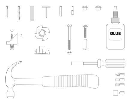 assembly line: Black and white line illustration of furniture assembly kit Illustration