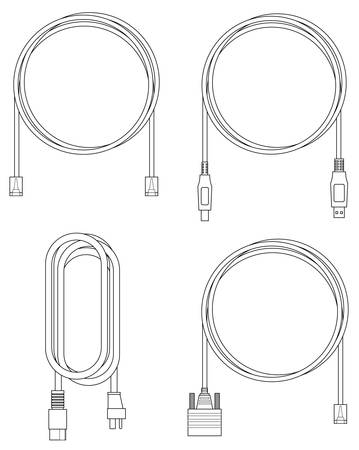 Black and white line illustration of computer cables