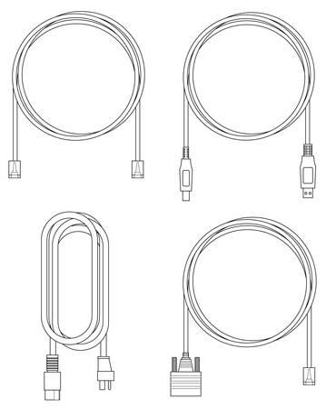 Zwart-wit lijn illustratie van computer kabels Stockfoto - 5630613