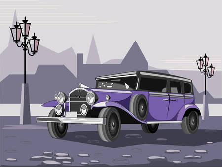 Illustration of purple retro car on cityscape background