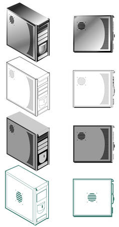 Illustration of computer case in different styles