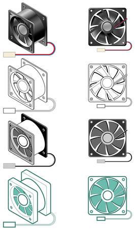 Afbeelding van de computer case fan in verschillende stijlen