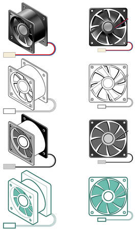 case: Illustration of computer case fan in different styles