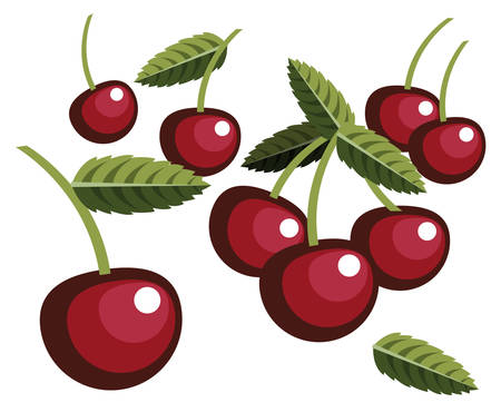 Illustration of simplistic cherries with leaves Ilustração