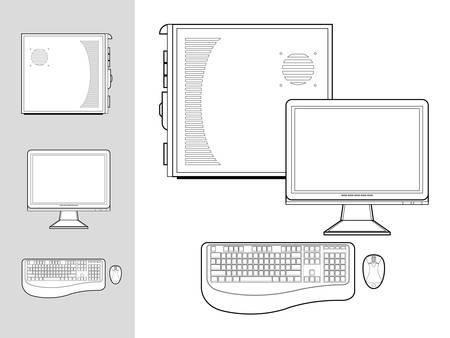 Zwart-wit afbeelding van desktop computer met toetsenbord, muis, monitor en geval