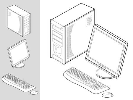 Black and white illustration of desktop computer with keyboard, mouse, monitor and case