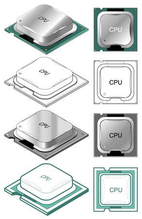 Illustration of computer CPU in different styles Ilustração