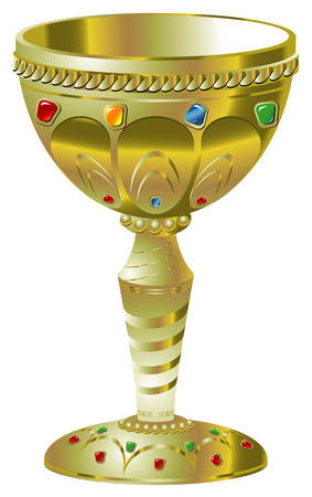 Illustration of golden goblet with precious stones Vector