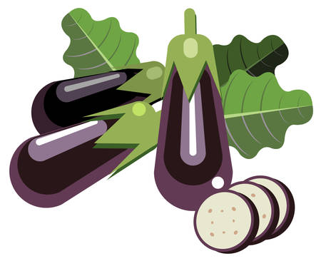 Illustration of simplistic eggplants with leaves and slices Ilustração