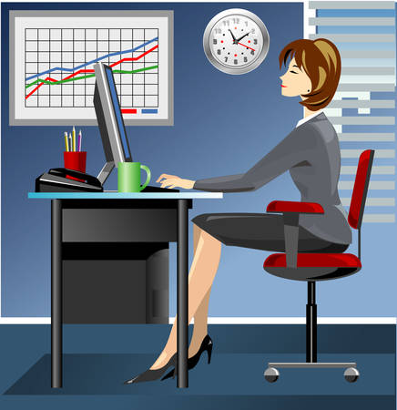 Business woman in office working on computer Stock Vector - 5664462