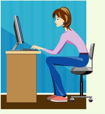 type writer: Scrittrice di lavoro sul computer Vettoriali