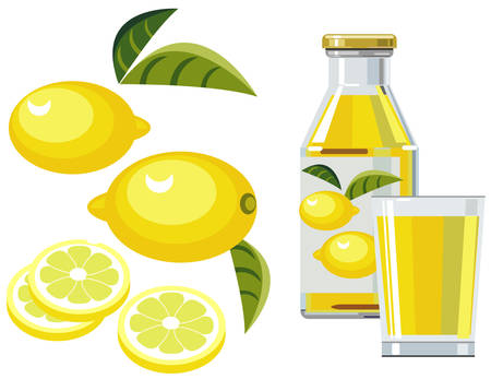 Lemon juice with bottle, glass and lemons Vector