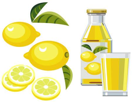 Lemon juice with bottle, glass and lemons Vector