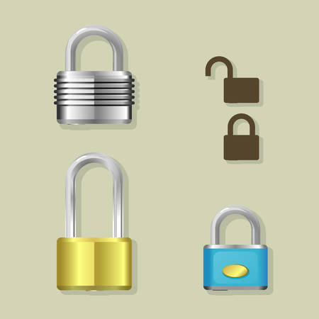Illustration of different locks Vector