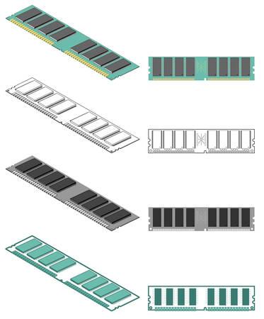 Computer memory chip Ilustração