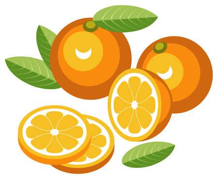 Oranges with slices Ilustração