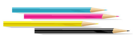 four color printing: Four pencils - cyan, magenta, yellow and black