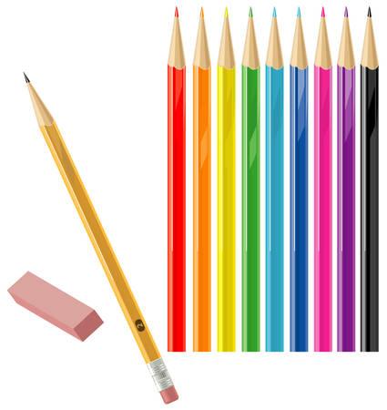 Set of color and regular pencils with eraser Illustration