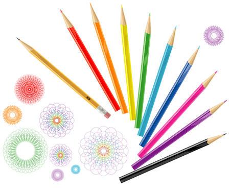 Color pencils with design elements Ilustração