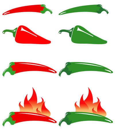 chiles picantes: Pimientos rojos y verdes en caliente Vectores