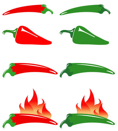 peppers: Red and green hot peppers Illustration