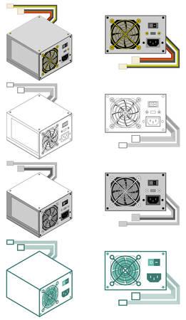 Computer power supply box Ilustração