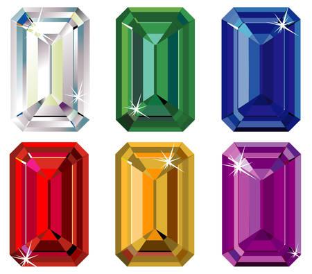 piedras preciosas: Esmeralda corta piedras preciosas con chispa  Vectores