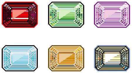 Precious stones with emerald cut