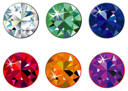Round precious stones with sparkle Stock Vector - 5686117