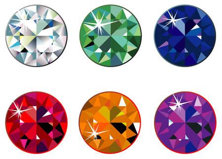 Round precious stones with sparkle