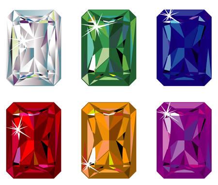 Radiant cut precious stones with sparkle