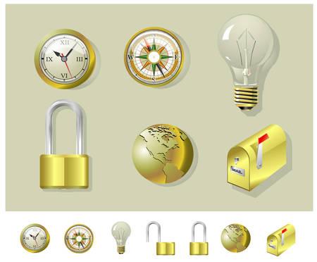 Golden compass, clock, lock, globe, bulb and mailbox