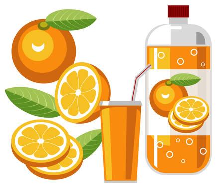 arboleda: Refresco de naranja  Vectores
