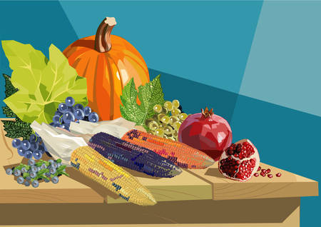 Fruits and vegetables on wooden table for Thanksgiving Illustration