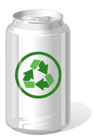latas: Lata de bebidas con el s�mbolo de la Papelera de reciclaje  Vectores