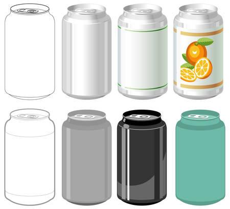 tin cans: Drank kan in verschillende stijlen  Stock Illustratie