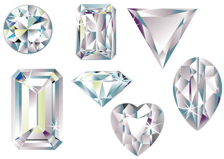 flawless: Vector illustration of different cut diamonds