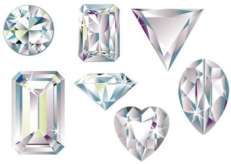cut: Vector illustration of different cut diamonds