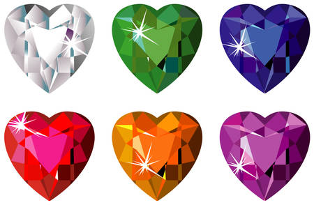 ruby: Heart cut precious stones with sparkle