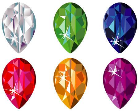 Pear cut precious stones with sparkle Vectores