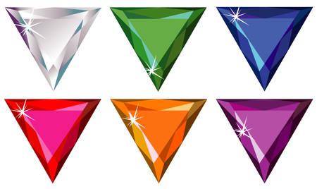 Trillion cut precious stones with sparkle Vettoriali